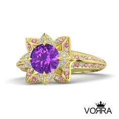 14K Gold Over Sterling Silver Multicolor CZ Princess repunzel Engagement Ring #VorraFashions #SolitairewithAccents