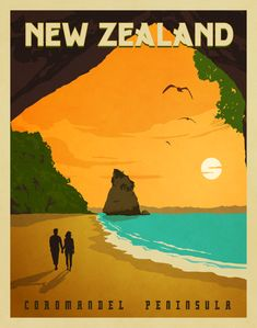 """Latest Photographs New Zealand Vintage Style Travel Poster Popular """"The Fantastic – what seems like pomp and luxury is connected with lavish lifestyle, ex"""