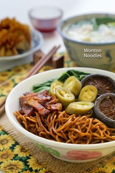 Dry style Wonton Noodles tossed in a dark soy sauce dressing served with wontons, braised mushrooms, and pickled green chilies. Wonton Noodles, Yummy Noodles, Malaysian Food, Malaysian Recipes, Malaysian Cuisine, Wan Tan, Asian Recipes, Ethnic Recipes, Chinese Recipes