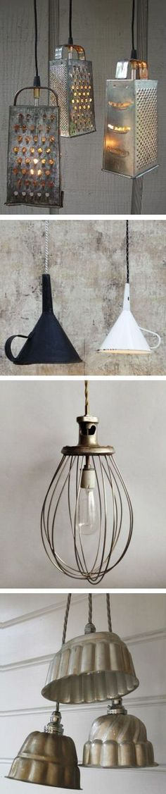 Upcycled kitchen cooking accessories into a one of a kind light pendant upcycled vintage colander