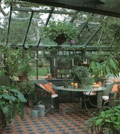 Amazing Shed Plans - what a wonderful greenhouse.love everything in it. Now You Can Build ANY Shed In A Weekend Even If You've Zero Woodworking Experience! Start building amazing sheds the easier way with a collection of shed plans! Outdoor Rooms, Outdoor Gardens, Outdoor Living, Outdoor Sheds, Dream Garden, Home And Garden, Glass House Garden, Garden Bed, Gazebos