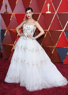 Sofia Carson Strapless Dress - Sofia Carson was a vision in a strapless, beaded white ball gown by Monique Lhuillier at the 2017 Oscars.