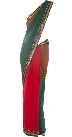 Red and green sari with multicoloured blouse by TARUN TAHILIANI. http://www.perniaspopupshop.com/designers-1/tarun-tahiliani