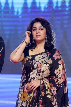Actress, Producer Charmi Kaur at Meeku Maathrame Cheptha Pre-Release Event - HD Photos Beautiful Bollywood Actress, Most Beautiful Indian Actress, Beautiful Girl In India, Gorgeous Lady, Charmy Kaur, Floral Print Sarees, Saree Photoshoot, Stylish Girl Pic, South Actress