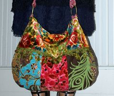 Big and colorful velvet boho bag
