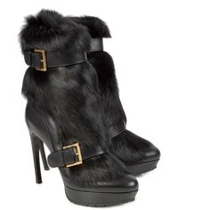 Alexander McQueen Shearling And Leather Boots ($705) ❤ liked on Polyvore