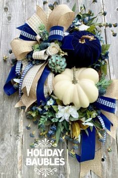 Elegant Fall White Pumpkin Wreath Inspiration Elegant fall pumpkin wreath created by Angel Hollaway Holiday Baubles. It's available for purchase in her Etsy shop. There is a matching centerpiece that goes with this wreath also. Thanksgiving Wreaths, Autumn Wreaths, Thanksgiving Decorations, Holiday Wreaths, Rustic Wreaths, Fall Mesh Wreaths, Burlap Wreaths, Spring Wreaths, Summer Wreath
