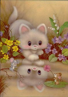 Cute Animals Images, Cute Cartoon Animals, Cute Animal Illustration, Animal Illustrations, Pretty Art, Cute Art, Vintage Pictures, Cute Pictures, Kitten Images