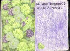 ehdreeahnah: My Wreck This Journal   Page 21 & 22 → Do Some Rubbings With A Pencil.