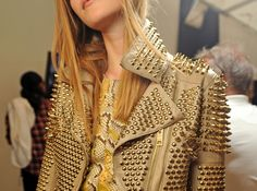 leather, taupe, studs, gold, jacket, model, burberry prosum,