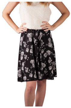 Black and White Flower Skirt On Sale