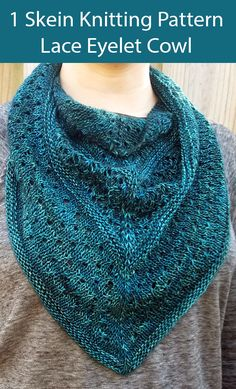 Knitting Pattern for One Skein Lace Eyelet Cowl for Sock Yarn knitting patterns simple Lace Knitting Patterns, Knitting Yarn, Free Knitting, Fingering Yarn, Sock Yarn, Knitting Accessories, Knitted Shawls, Cami Tops, Knit Crochet