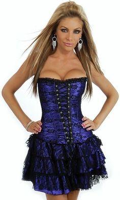 Saloon Girl Corset Dress Riverboat Moulin Rouge Fancy Dress Black Purple Size 10