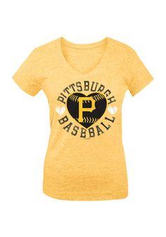 Pitt Pirates Girls Gold Heart Fashion T-Shirt