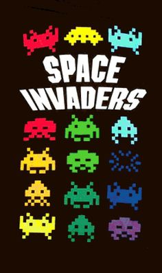 eBlueJay: Colorful Space Invaders Cross Stitch Pattern***L Classic Video Games, Retro Video Games, Video Game Art, Space Invaders, Peter Et Sloane, Wal Paper, Retro Arcade Games, Mundo Dos Games, Flipper