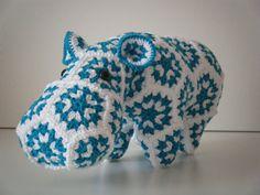 Crochet hippopotamus made out of Granny Squares by HandmadebyFieke