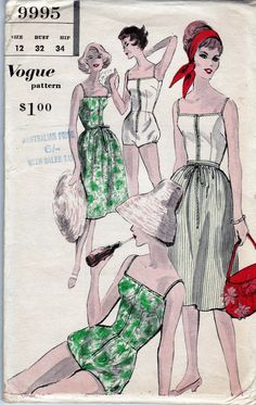 1960's Vogue Pattern 9995 for Low Back One Piece Bathing Suit and Skirt.