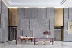 New work | high-grade gray + ink stone, simple and pure artistic style Treatment Rooms, Wall Treatments, Lobby Interior, Modern Interior Design, Fresco, Luxury Hotel Design, Stone Wall Design, Modern Office Design, Modern Offices