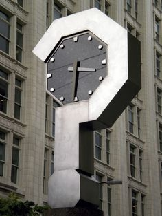 The Question Mark Clock by artist Bill Whipple was constructed at Pine and Fifth Avenue, Seattle, as part of the work on the Westlake Center Transit Station in the early Unique Clocks, Cool Clocks, Sistema Solar, Tick Tock Clock, Father Time, Somewhere In Time, Time Stood Still, Time In The World, As Time Goes By