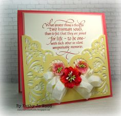 A love/wedding card using Quietfire Design stamp (so beautiful!) and Elizabeth Craft Designs Lace Pocket die.
