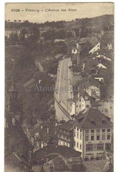 Fribourg. Avenue des Alpes. Suisse? 1910. Ancienne carte postale. Vintage postcard.