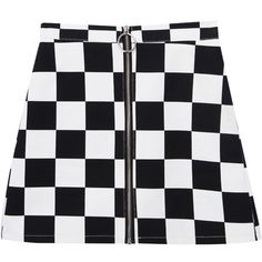 Check Zip-Front Mini Skirt (27 PLN) ❤ liked on Polyvore featuring skirts, mini skirts, checkered skirt, high waisted mini skirt, high-waist skirt, front zip skirt and high-waisted skirts