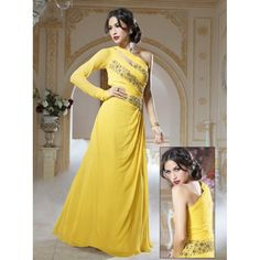 Viva N Diva Yellow Color Pure Goergette Gown http://goo.gl/7ycfAL