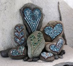 Copper and Teal Mosaics on Rocks for Etsy Shop, Garden Stones and Paperweights.