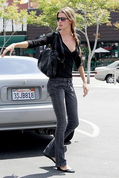 gisele. I thought I was over flared jeans, but these are super chic.