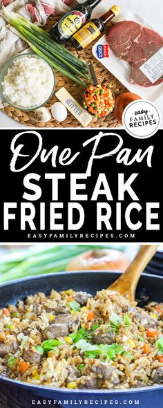 Better than takeout and SO EASY! This Steak Fried Rice is a family favorite recipe. It is made in just one pan so it is quick to make and clean up, and everyone always cleans their plate. This is one of our favorite beef dinner recipe ideas! Beef Recipes For Dinner, Chicken Recipes, Potato Recipes, Baked Chicken, Pasta Recipes, Dessert Recipes, Easy Family Meals, Easy Meals, Family Recipes