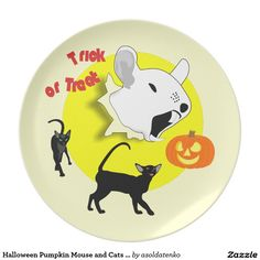 Halloween Pumpkin Mouse and Cats Plate