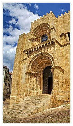 The Old Cathedral main door - Coimbra, Portugal, shows where a historic religious group met to practice their religion. Visit Portugal, Spain And Portugal, Portugal Travel, Beautiful Places To Visit, Great Places, Algarve, Cathedral Church, Architecture Old, Place Of Worship