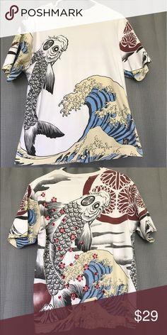 Mens T-Shirt Japanese Pattern Embroidery Discharge Carp Koi Sakura Black White