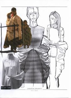 Re-constructing Heritage - ArtsThread - Fashion Sketchbook – fashion sketches & draping development; Sketchbook Layout, Textiles Sketchbook, Fashion Design Sketchbook, Fashion Design Portfolio, Sketchbook Inspiration, Fashion Sketches, Drawing Fashion, Mode Collage, Mode Pop
