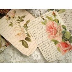 Shabby French Floral Gift Tags no 11 - Vintage Style - Roses - French... ❤ liked on Polyvore