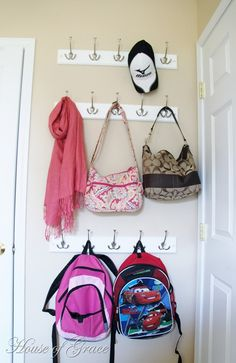 No more purses & bookbags taking up space in the closets.hang them in the mud room or laundry room Laundry Room Organization, Diy Organization, Front Closet, Entry Wall, Door Entry, Mudroom, Getting Organized, Hanging Purses, Basement Closet