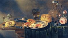 Alexander Adriaenssen - Title: A Still Life with Roses, a Jug, a Loaf of Bread - Buy this painting as premium quality canvas art print from Modarty Art Gallery  #art, #canvas, #design, #painting, #print, #poster, #decoration