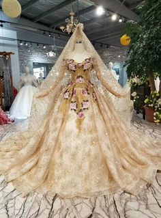Champagne Ball Gown Tulle Sequins Off The Shoulder Embroidery Wedding Dress<br> Quince Dresses, Ball Dresses, Ball Gowns, Dream Wedding Dresses, Wedding Gowns, Pretty Dresses, Beautiful Dresses, Gold Tulle, Victorian Dresses