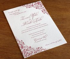 lacy victorian corners on red letterpress formal jewish wedding custom invitation by invitations by ajalon