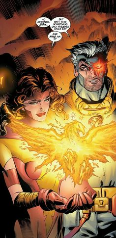 Jean and Cable Jean Grey Phoenix, Dark Phoenix, Marvel Women, Marvel Girls, Marvel Comics Art, Marvel Fan, Phoenix Marvel, Comic Art, Comic Books