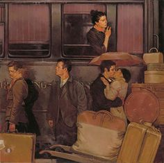"Joseph Lorusso, ""Waiting at the Station,"" 48x48, oil on panel, Gallery ID# 16627-- at Principle Gallery"