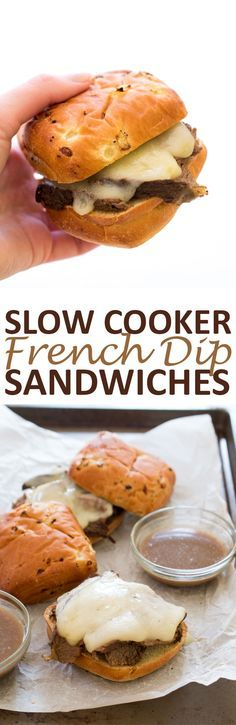 Slow Cooker French Dip Sandwiches. Tender pot roast cooked low and slow and served on crusty bread with provolone cheese. A super easy make ahead meal!   chefsavvy.com #recipe #slow #cooker #crockpot #french #dip #sandwiches