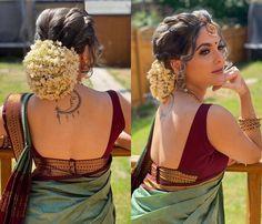 Blouse Back Neck Designs, Silk Saree Blouse Designs, Saree Blouse Patterns, Designer Blouse Patterns, Fancy Blouse Designs, Bridal Blouse Designs, Saree Hairstyles, Stylish Blouse Design, Indian Fashion Dresses