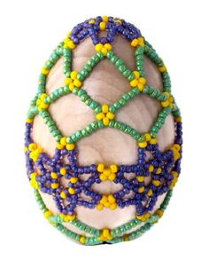 Easter Decor Beaded Easter Egg Wooden Egg by APerfectGem on Etsy, $18.00
