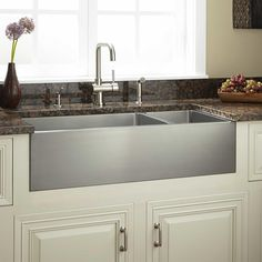 "36""+Optimum+70/30+Offset+Double-Bowl+Stainless+Steel+Farmhouse+Sink"