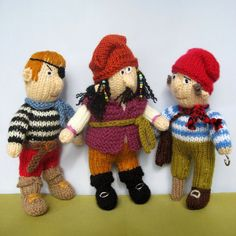 PDF PATTERN for Pirates knitted toy dolls email by toyshelf, $4.95