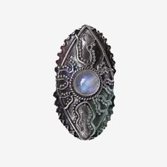 Large Statement Moonstone Sterling Silver Ring