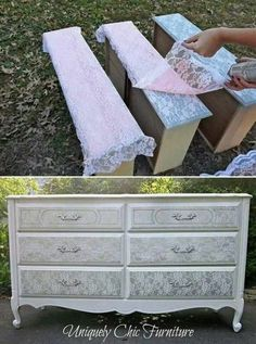 Give the old dresser a new look by silver spraying them over lace to get the shaby chic effect!.