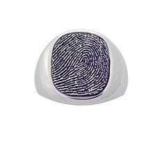 Sterling Silver Men's Cushion Fingerprint Signet Ring