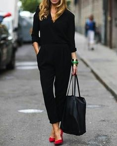 all black everything with a pop of red